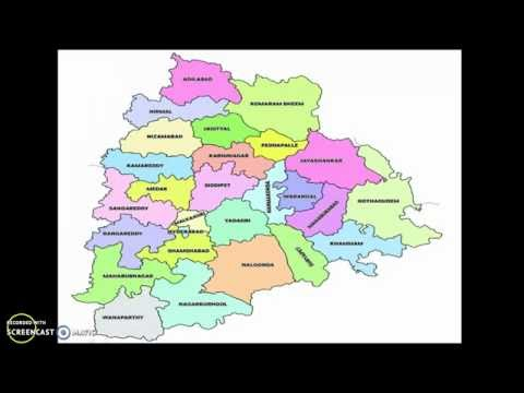 Telangana map with 27 districts(Including new districts) list 2016