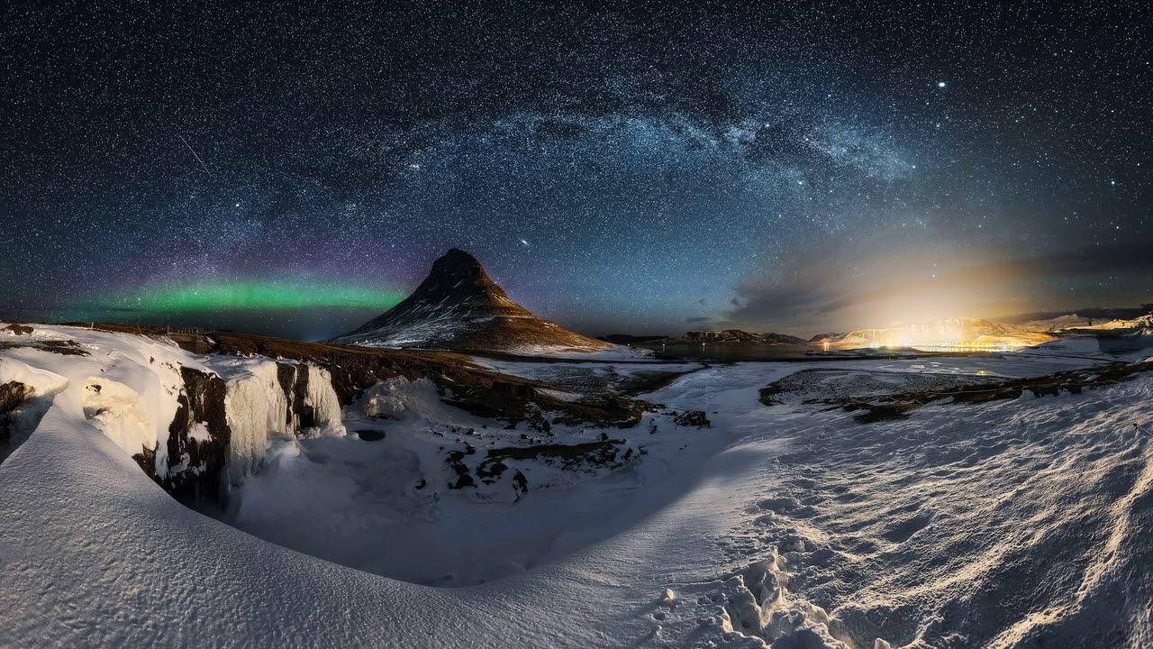 Картинка природа. Зима, небо, звезды, гора, млечный путь ...