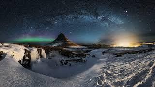 Картинка природа. Зима, небо, звезды, гора, млечный путь, Исландия, ночь