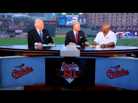 "Former Oriole Ken Dixon stops by the ""O's Xtra"" set"