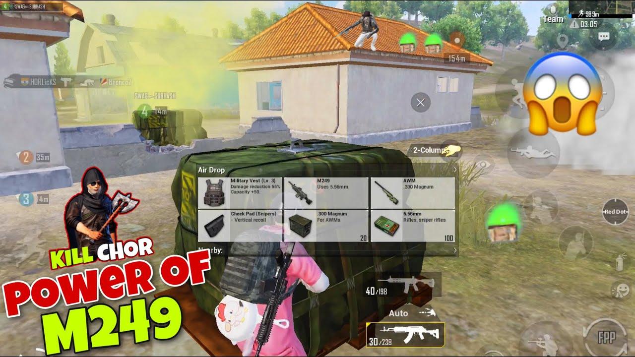 🔥 Aaj Phir Tabahi Hogi | Best Amazing Kills With M249 | Pubg Mobile Gameplay - Kill Chor