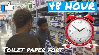48 HOUR TOILET PAPER FORT IN WALMART CHALLENGE!!