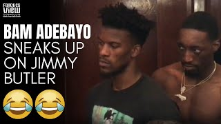Bam Adebayo Sneaks Up on Jimmy Butler in Post-Game Interview 😂 | MIAMI HEAT
