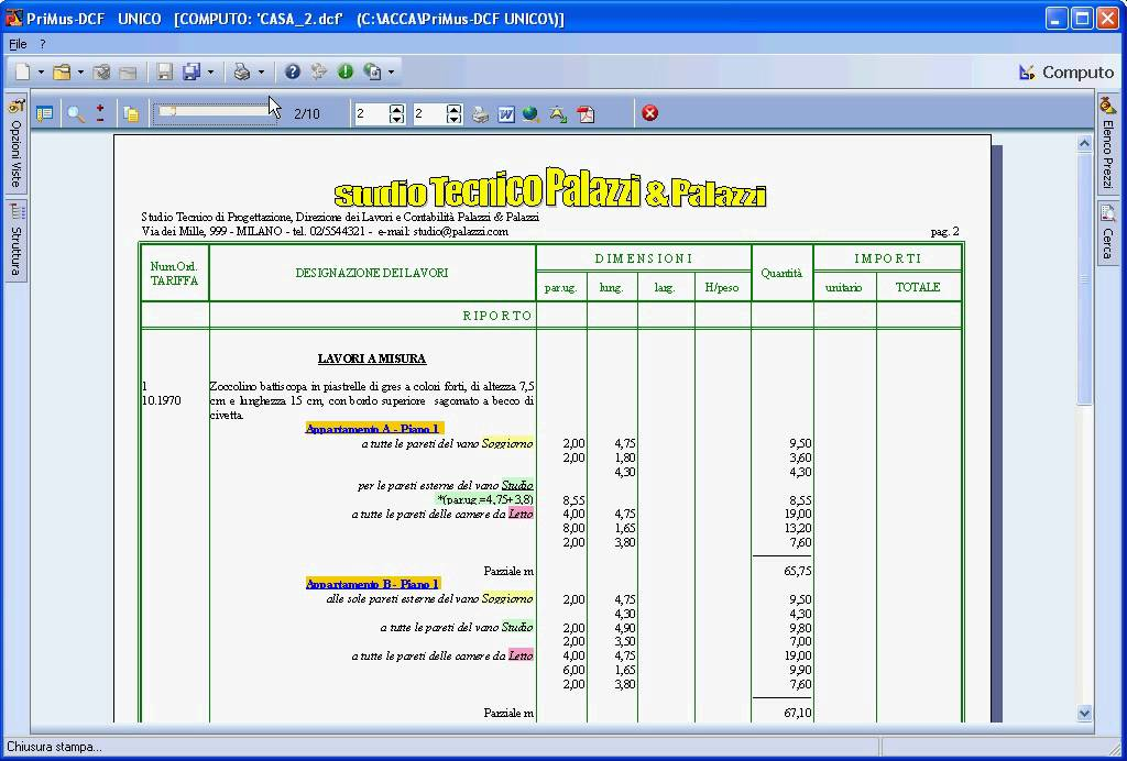Acca software primus dcf tipo documento listino for Software gratuito per il layout del garage
