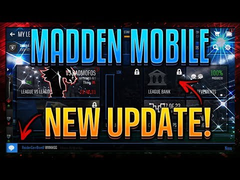 NEW MADDEN MOBILE 18 UPDATE! NEW LEAGUE BANK & MORE! MADDEN MOBILE 105 OVERALL TEAM!
