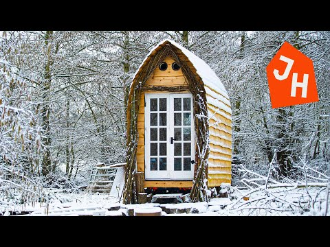 TIMELAPSE - Young Man Gets Laid off and Builds Tiny House CABIN from scratch. - Jacob Harrell