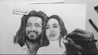 Drawing Riteish Deshmukh & Nargis Fakhri - Realistic Sketch