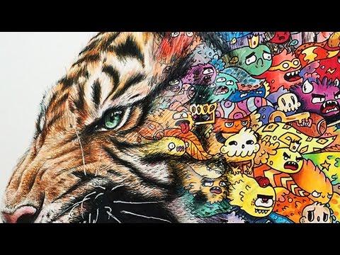 TIGER DOODLE ART!!   Timelapse Drawing