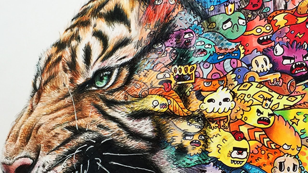 Tiger Doodle Art Timelapse Drawing Youtube