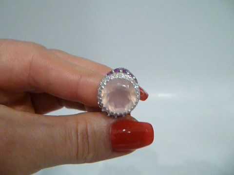 Кольцо с розовым кварцем и гранатом Серебро 925