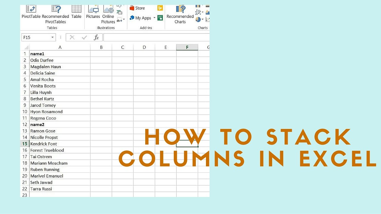 How to stack columns in Microsoft Excel - YouTube