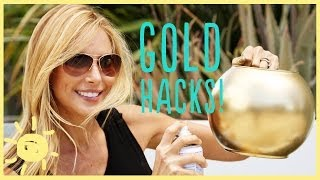 DIY | 3 GOLD SPRAY PAINT HACKS!(Give new life to everyday objects with metallic gold spray paint! This is such and easy inexpensive way to transform just about anything in your home (I'm ..., 2014-04-04T13:00:06.000Z)