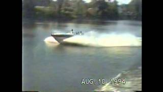 Boat jumping 34 foot sedan bridge wake
