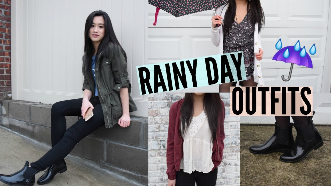 Rainy Day Outfit Ideas! | Emily - YouTube