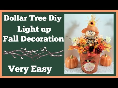 Dollar Tree Diy Fall Light Up Decoration 🍁 Super Easy Project