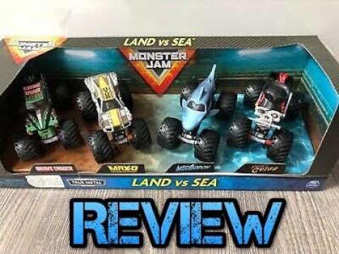 #Spinmaster #MonsterJam Spin Master Monster Jam Land vs. Sea 4-Pack Review
