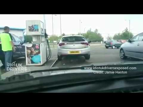 Caught on camera Grangemouth  petrol station Scotland was this driver drunk? Dash cam idiot drivers