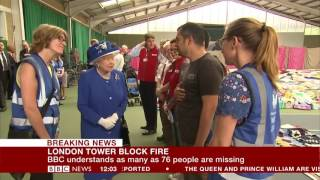 London fire: Queen and Prince William visit Grenfell Tower centre - BBC News