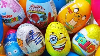 NEW 25 Surprise Eggs Opening! Kinder Surprise Toto Frozen Elsa Superman Spider-Man Hulk Minions