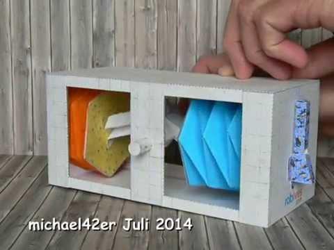 Papercraft Twin Bellows Crank Box, paper model