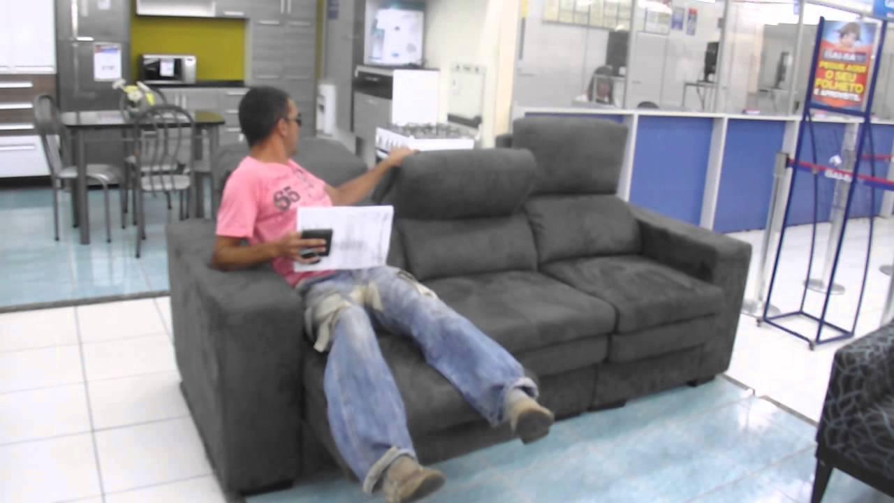 Sofa Para Sala Pequena Casas Bahia ~ MARCIO ROCHA FAZENDO TESTE DRIVE DE SOFÁ CASA BAHIA  YouTube