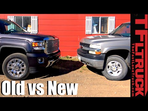 2016 GMC Sierra Denali HD vs 2002 Chevy Silverado 2500 HD Mashup Review - Old vs New Ep.1