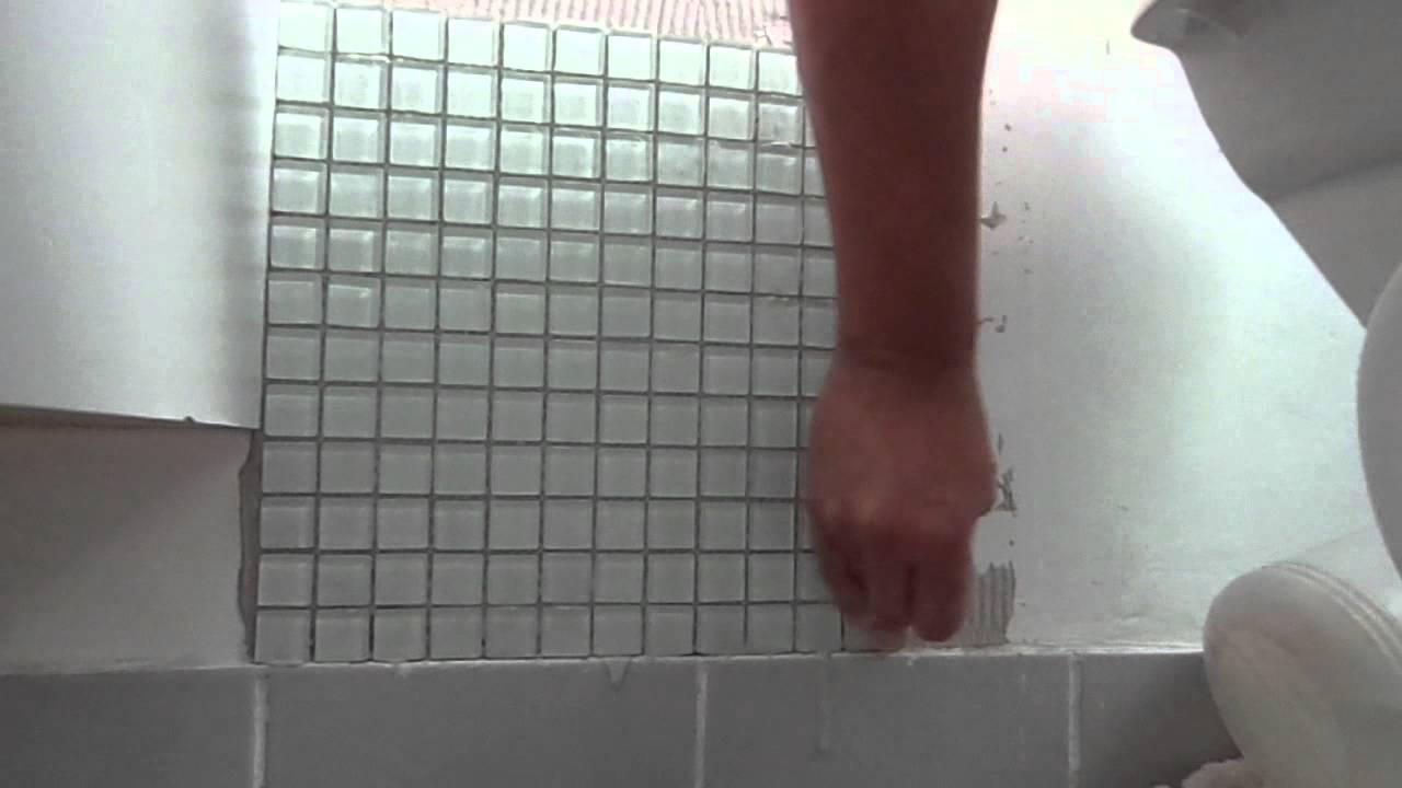 Aplicação de Pastilhas de vidro na SuíteBanheiro  Parte 33(Final)  By Moa -> Banheiro Cm Pastilha De Vidro