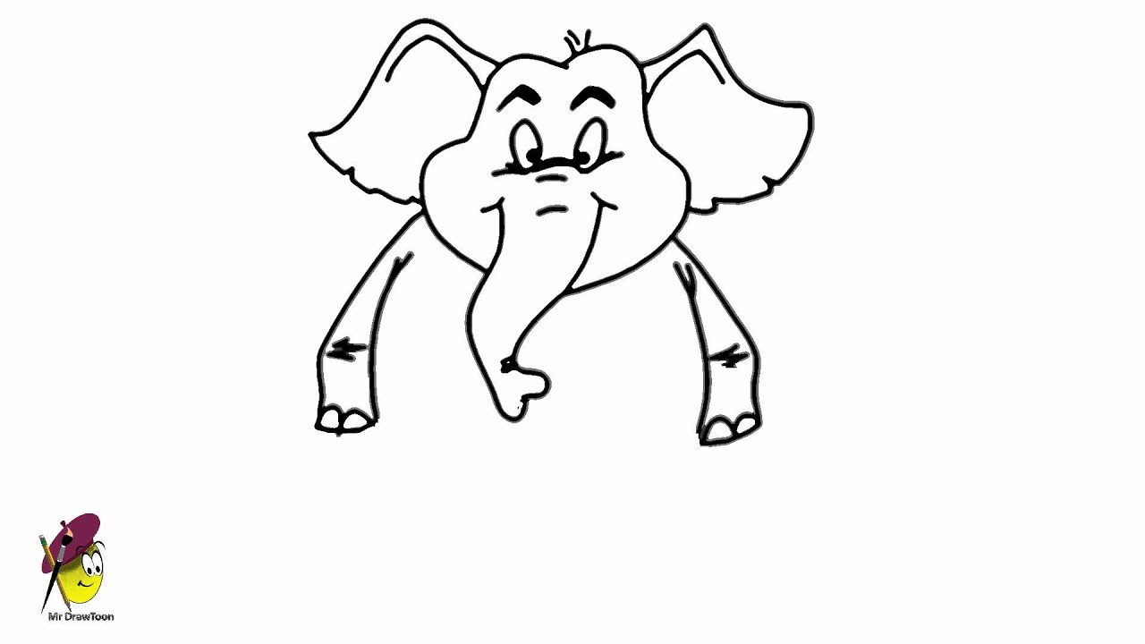 standing elephant easy drawing how to draw an elephant youtube. Black Bedroom Furniture Sets. Home Design Ideas