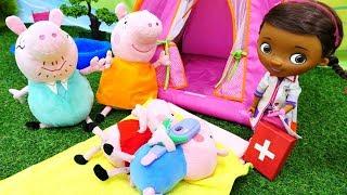 Видео с игрушками из мультфильмов - Свинка Пеппа и Джордж заболели