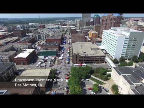 Des Moines Farmers Market and Capital Building - Aerial Video