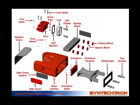 Syntron Electromagnetic Vibratory Feeder Drive Exploded View FR370-FV480