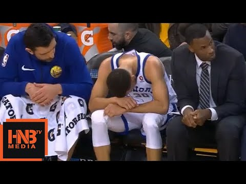Stephen Curry left knee injury / GS Warriors vs Hawks