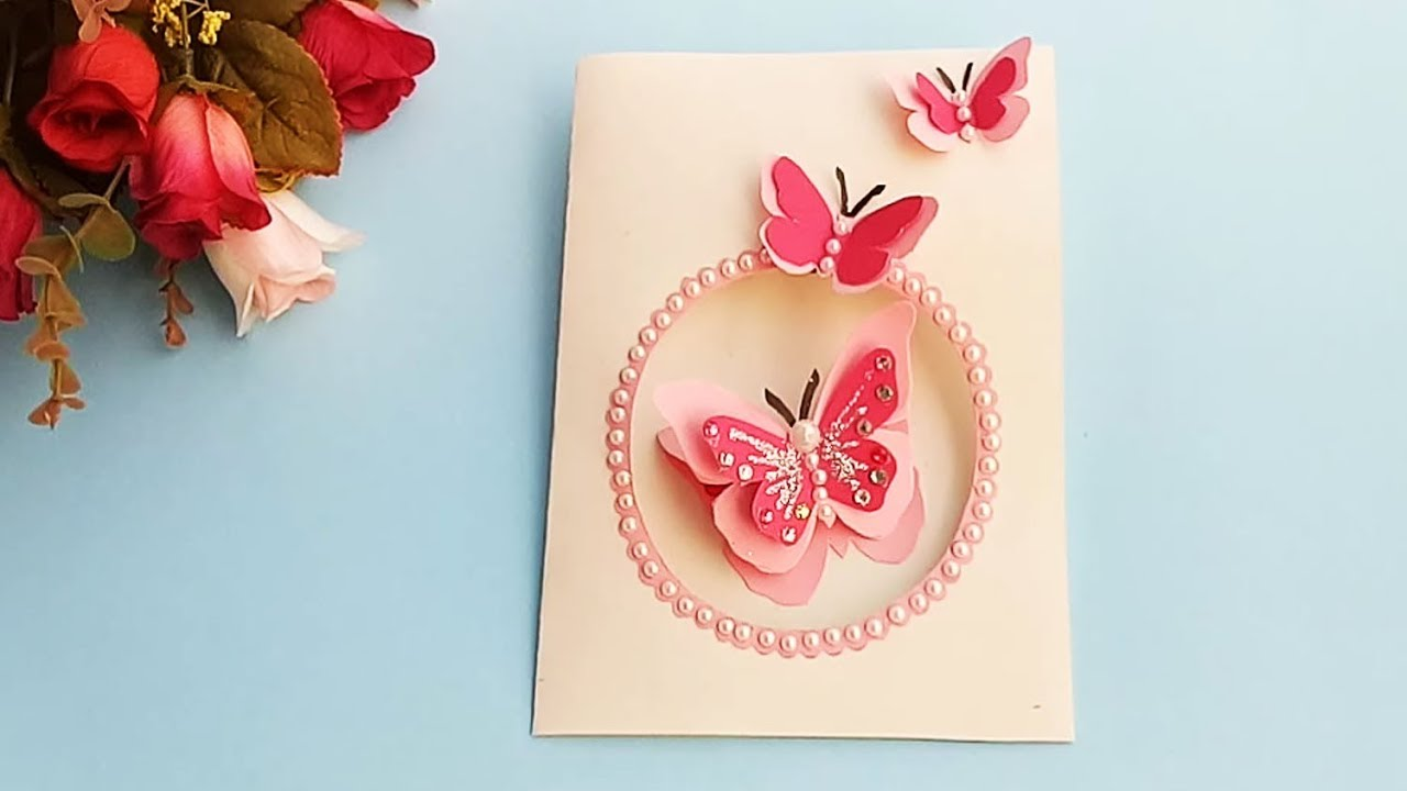 FEMALE LADIES HAPPY BIRTHDAY GREETINGS CARD BEAUTIFUL FLOWER ROSES /& BUTTERFLY