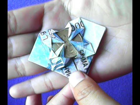 tutorial origami uang bentuk bunga