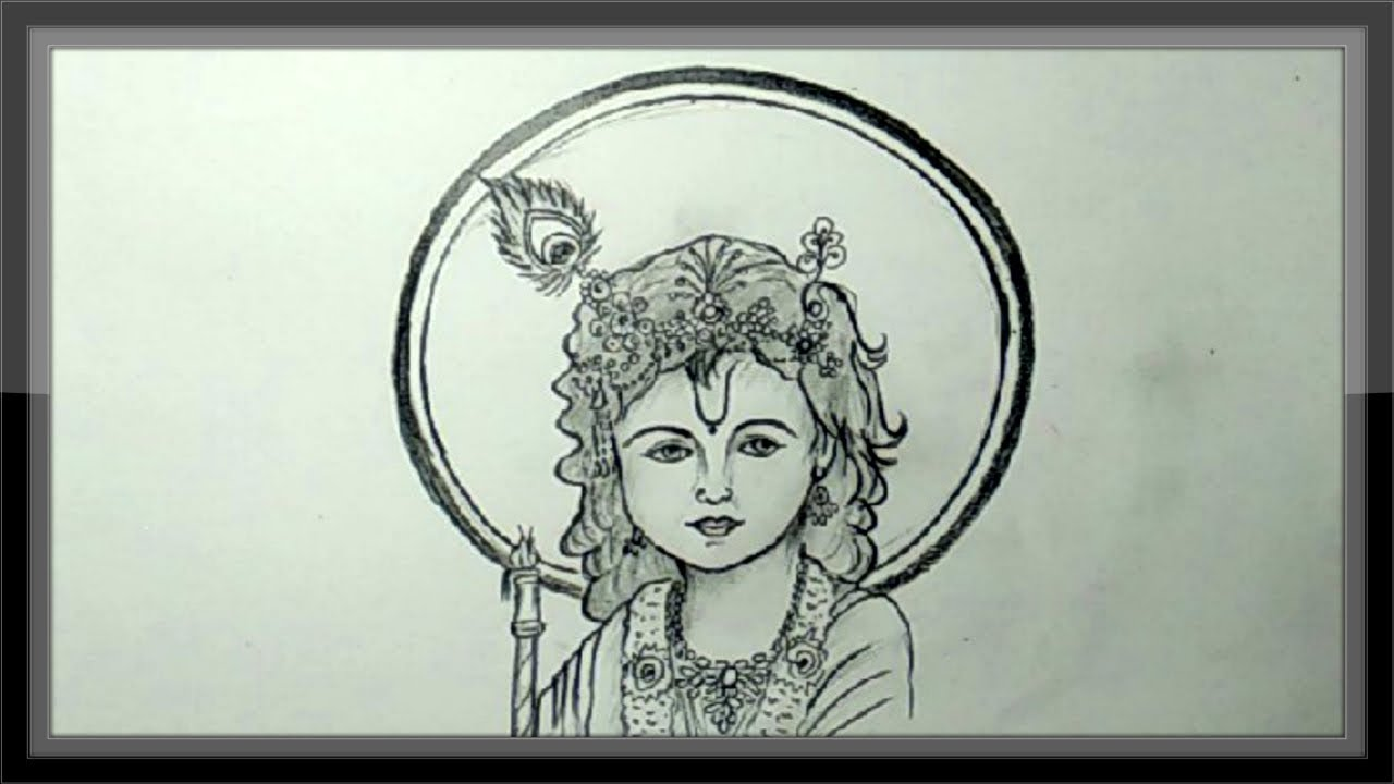 Pencil drawing how to draw lord krishna step by step