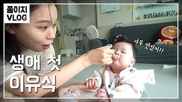 생후 5개월차 첫 이유식 먹던날ㅣ초기이유식 ㅣ쭘이지부부 육아일기