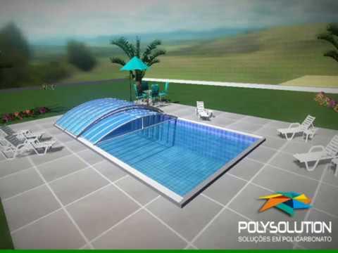 Cobertura de piscina em policarbonato modelo i abre e for Cobertura piscina