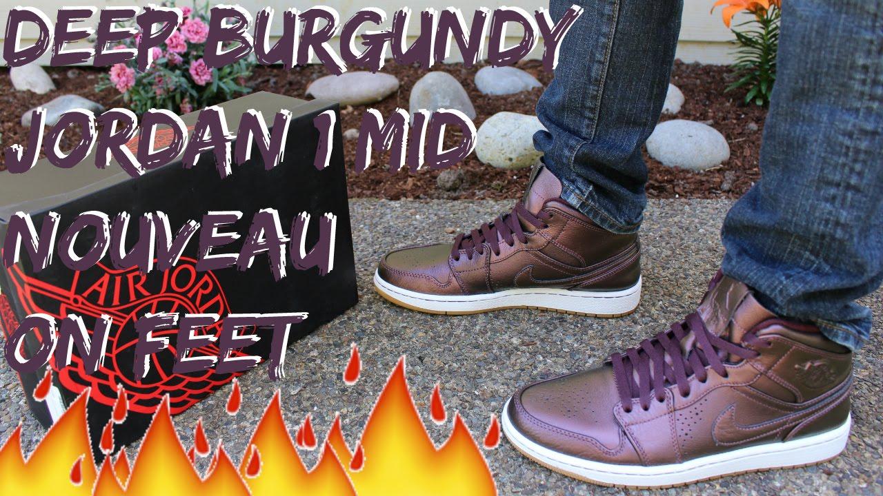 Deep Burguday Jordan 1 Mid Nouveau On Feet Detailed Look HD - YouTube 9d8642d54