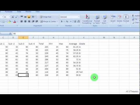 how to create marksheet in ms excel- (easy way) - YouTube