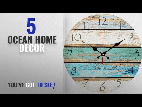 """Top 10 Ocean Home Decor [2018 ]: Grazing 12"""" Vintage Arabic Numerals ,Shabby Beach, Weathered"""
