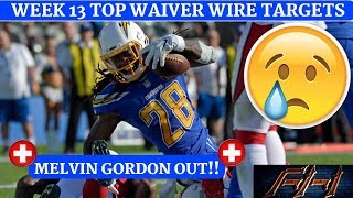 2018 Fantasy Football Advice  - Week 13 Top Waiver Wire Targets - Players To Target
