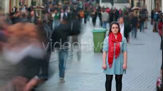 Young Woman Standing In Busy City Street - Stock Footage from Videohive