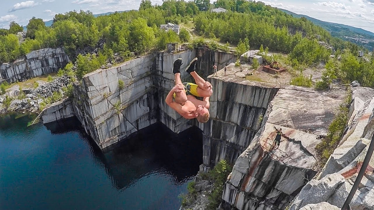 Cliff Jumping In Vermont With Rainhard Riede 112 FT Triple Flip