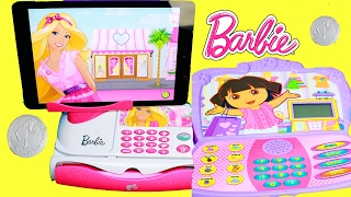 BEST LEARNING KIDS VIDEOS Barbie Cash Register Dora Toy Reviews Learn Counting Math Educational