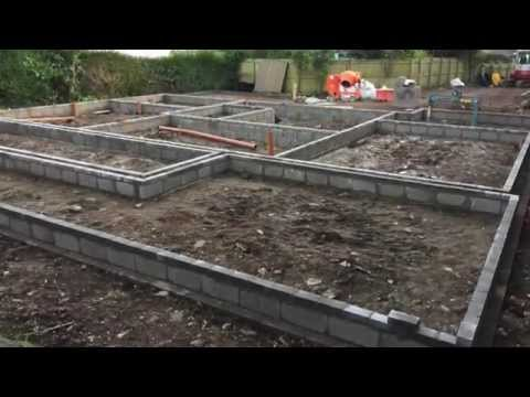 Building a house part 1. Self Build House Construction block and render UK Sep thru Oct 2015