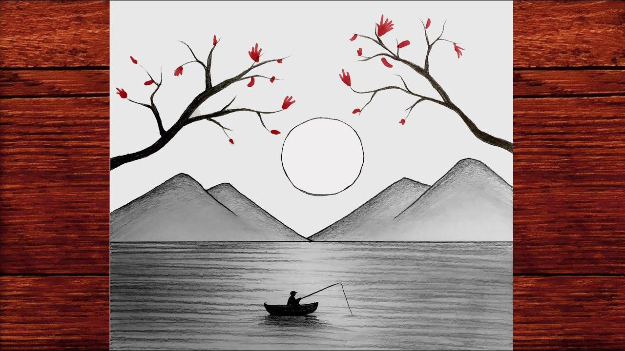 Karakalem Manzara Resmi Çizimi Nasıl Yapılır - Karakalem Çizimleri - How to draw a Landscape Easy