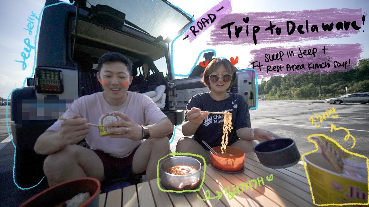 Road trip to Delaware! (ft. sleeping in Jeep + rest area Kimchi stew!)