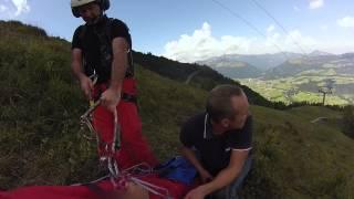 Special: Heli Rettung nach Gleitschirm-Unfall 22.08.2015 Kössen Christophorus 4 Helicopter Rescue