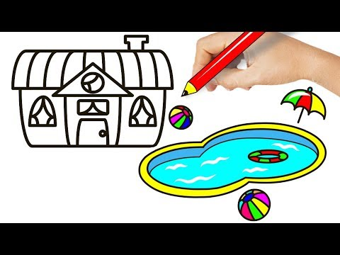How to Draw a House with a Pool for Kids - House with Pool Drawing and Coloring Pages for Kids
