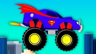 superman car wash monster truck   videos for children   videos for kids